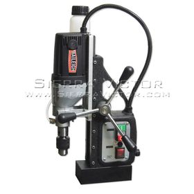 "This economical magnetic drill machine comes with everything you need to get started out of the case. The drill's magnet has a whopping 13,000N of adhesion strength, enabling you to cut at angles that other types of drills can't manage.      Robust single-speed 110-volt industrial motor will offer years of trouble-free productivity.     Handles a twist drill capacity of up to .5"" and an annular cutter capacity of 1.375"".     Drill spins at 595 rpm, suitable for most cutting applications.     Gravity feed coolant system extends the longevity of the tooling and makes cuts faster and more efficient.     Industry standard .75"" spindle makes it easy to find compatible tooling.     Rigid steel case frame maintains accuracy and reduces flexing.     Includes drill chuck and adapter so that the drill can work on a variety of applications.     Steel carrying case helps you transport the drill to job sites.     You can count on a 1-year parts warranty, plus lifetime technical support by phone from Baileigh's experienced team.     We keep the the MD-3500 in stock for fast deliveries.   Recommended for: Fabrication shops or structural steel companies."